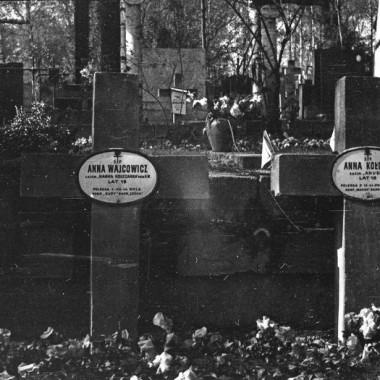 Powojenne zdjęcia tablic nagrobkowych na cmentarzu wojskowym Powązki