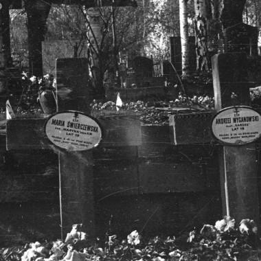 Powojenne zdjęcia tablic nagrobnych na cmentarzu wojskowym Powązki