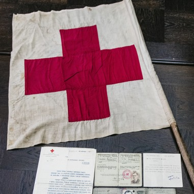 Historical flag of The Polish Red Cross donated to The Warsaw Rising Museum