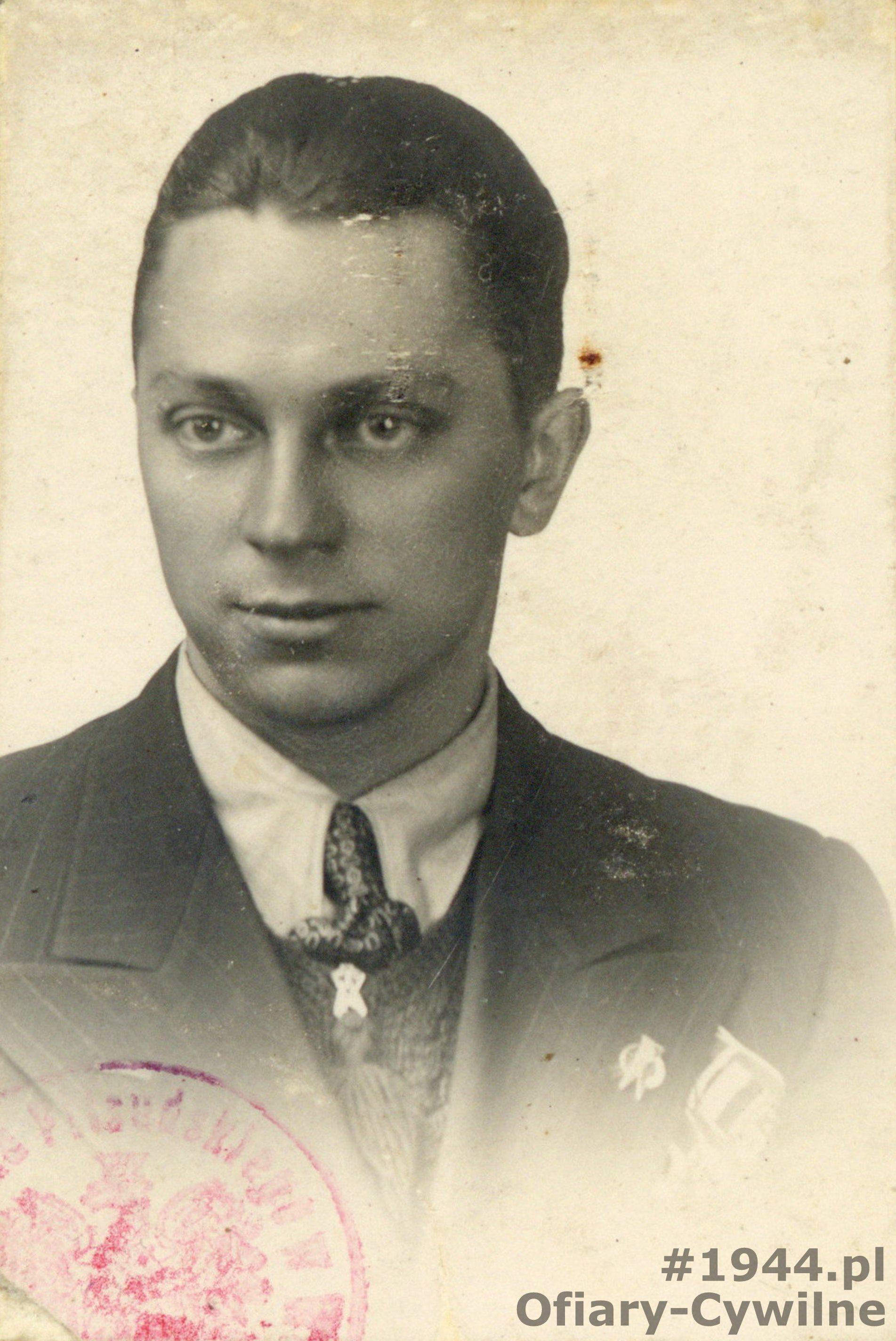 Stanisław Arciszewski zdjęcie z legitymacji studenckiej, ze zbiorów syna pana Krzysztofa Arciszewskiego