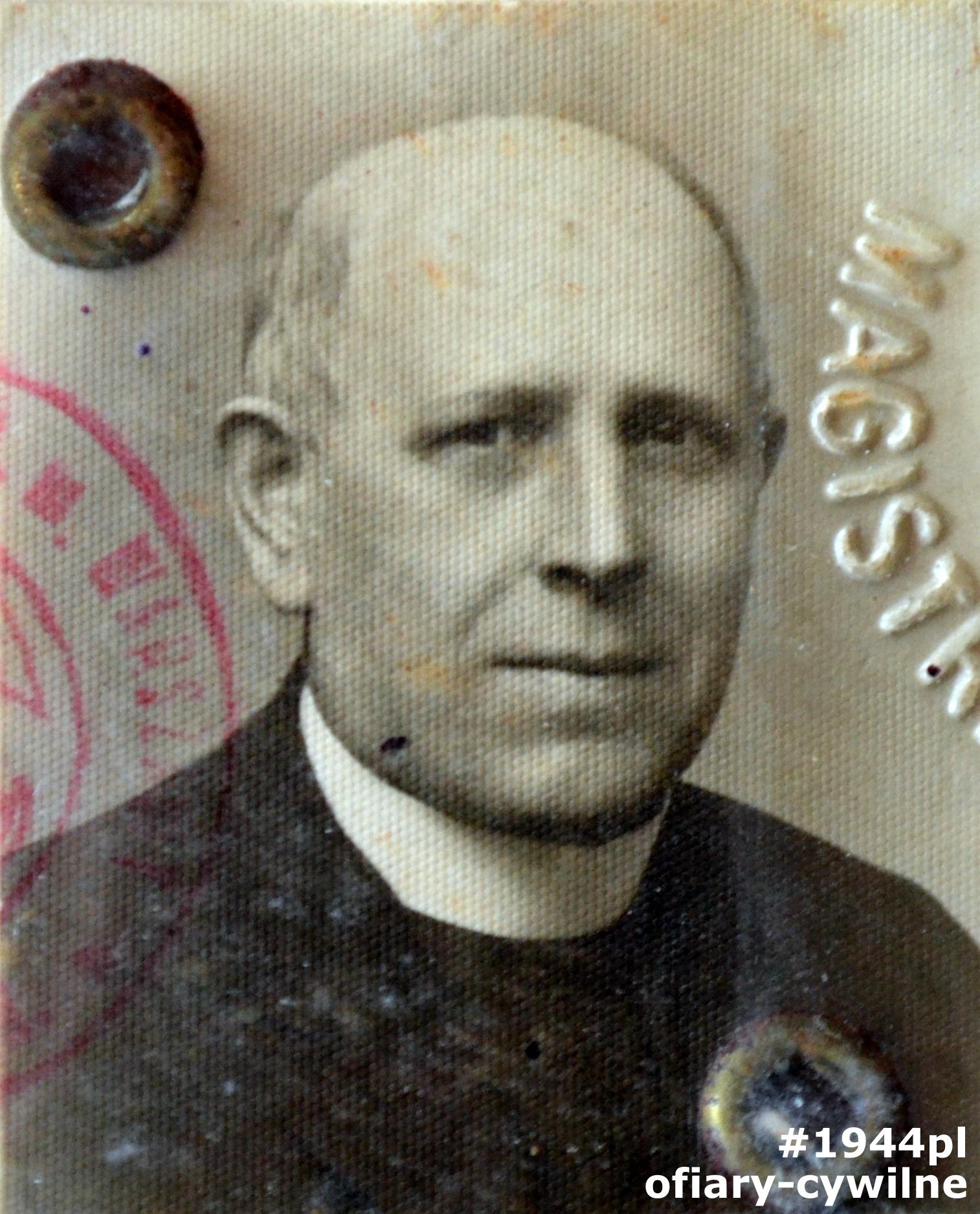ks. Stanisław Jan Rogoż (1874-1944), fotografia z dowodu osobistego, zbiory Archiwum Państwowe m.st. Warszawy Zespół nr 655 Sąd Grodzki w Warszawie, sygnatura 1/74